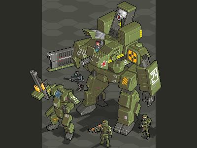 Future Warfare iso 8-bit pixel pix pixelart mockup isometric future mech