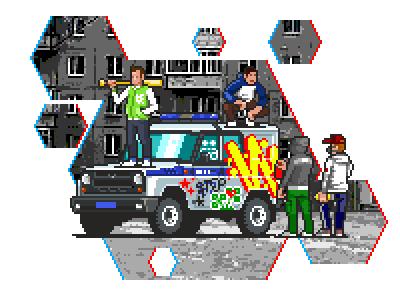 Color the Bobik police graffiti uaz flat 2d pixelart