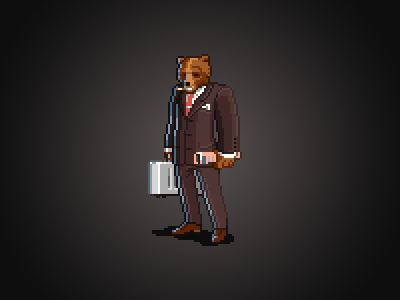 Financial azzkikr pixel pixelart bear avatar 8-bit sprite
