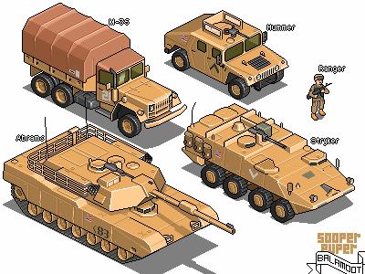 American warfare iso pixelart pixel isometric