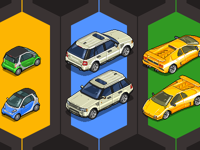 Choose Your Ride pixel iso cars vehicles pixelart isometric