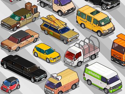 Set of cars 1 iso pixelart pixel isometric