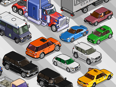 Set of cars 2 iso pixelart pixel isometric