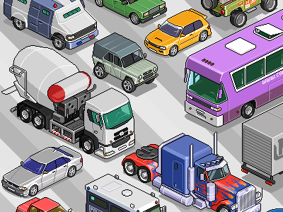 Set of cars 3 iso pixelart pixel isometric