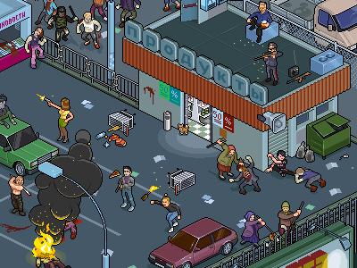 WalkingDead.Russia iso pixelart zombies illustration pixel