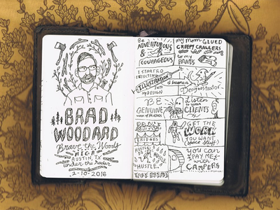 Brad Woodard sketch notes handlettering austin aiga woods illustration notes sketchnotes