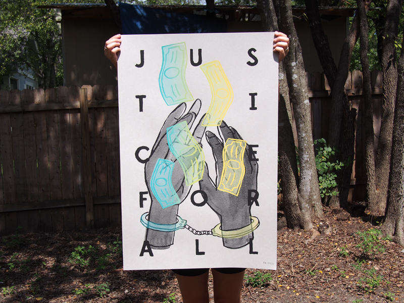 Justice for all freedom money hands justice slpit fountain screenprint poster