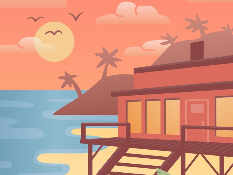 Beach House social travel sunset ocean beach house house beach illustration vector