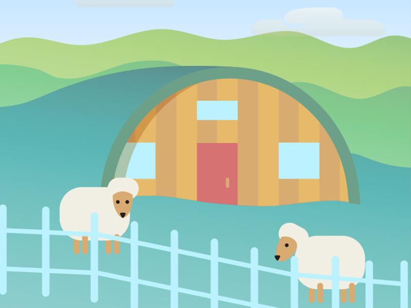 Eco homes farm austin vacation travel sheep vector illustration home green eco