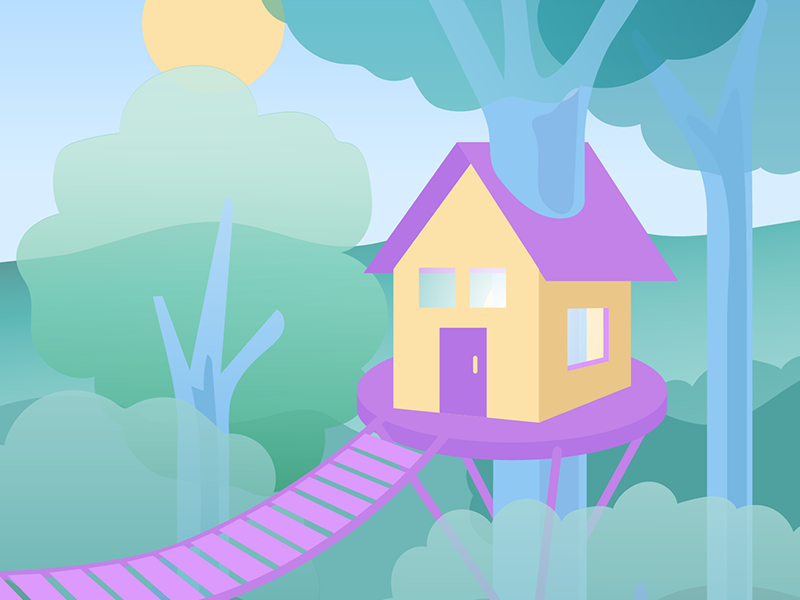 Treehouse illustration vector home rental vacation treehouse forest house tree