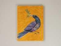 Grackle with olive branch