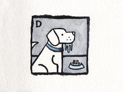 6. Drooling drooling dog icon conceptual illustration design austin inktober2018 inktober