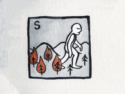 19. Scorched trees fire scorched brush icon conceptual illustration design austin inktober2018 inktober
