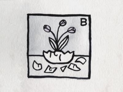 20. Broken flower breakable broken brush icon conceptual illustration design austin inktober2018 inktober