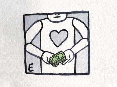 22. Expensive heartless expensive money brush icon conceptual illustration design austin inktober2018 inktober