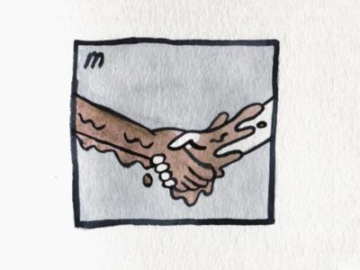23. Muddy handshake muddy mud brush icon conceptual illustration design austin inktober2018 inktober