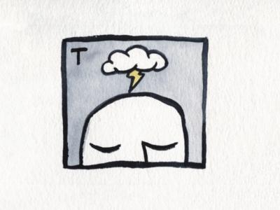 27. Thunder cloud thunder brush icon conceptual illustration design austin inktober2018 inktober
