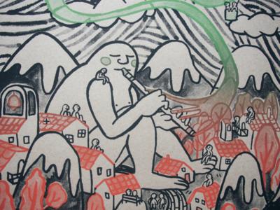 Music giant illustration poster giant music halftone screenprint afterhours afterhoursatx