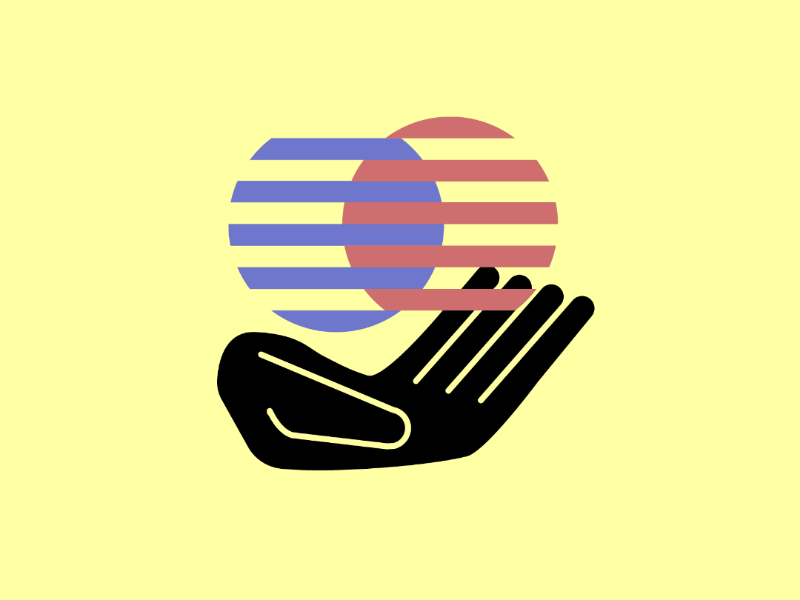 Holding opposites vector illustration design conceptual ideas hand holding opposite contradiction