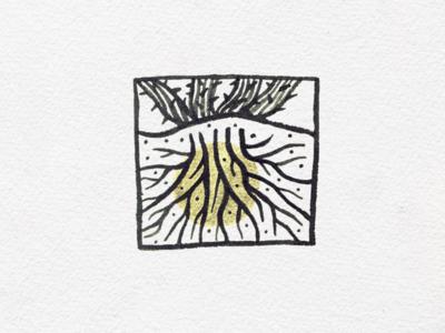Roots halo ink illustration succulent desert roots ocotillo