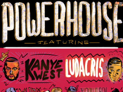Powerhouse Concert Poster illustration red powerhouse kanye luda ludacris rap hip hop concert poster