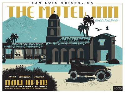 The Motel Inn artdeco deco silhouette history california poster illustration car motel
