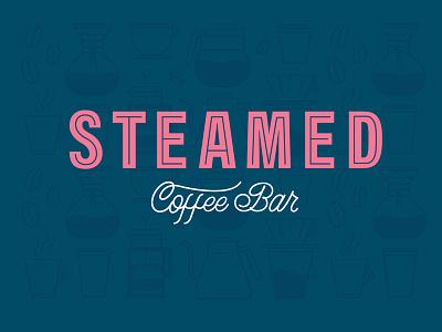 Steamed Coffee Bar Branding branding lettering custom illustration pink coffee