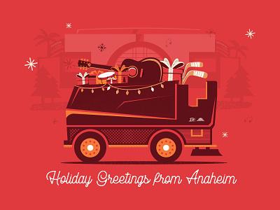 Holiday Zamboni music hockey zamboni holiday red illustration