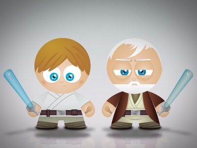 Star Wars   Good Side Toy star wars force luke obi wan illustration skywalker kenobi kawaii drawings