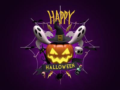 Happy Halloween bat skull poison eye spider candy witch pumpkin ghost cat halloween happy