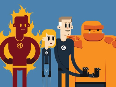 Fantastic4 character illustration comic marvel four fantastic thing torch human woman invisible