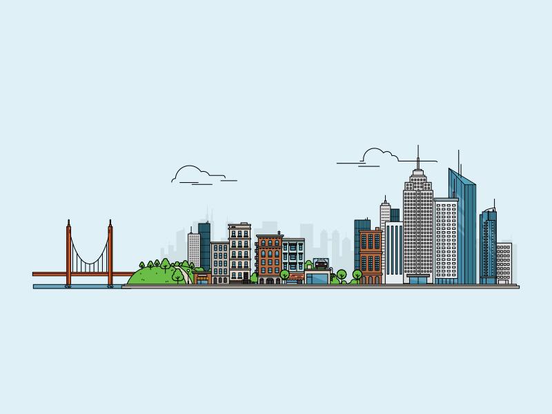 We Build This City 🎶 🎶 🎶 website concept building bridge pontamedia city illustration