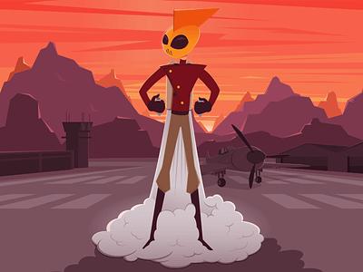 Rocketeer adobe ilustrator vector design argentina movies character airport plane comics ilustration rocketeer