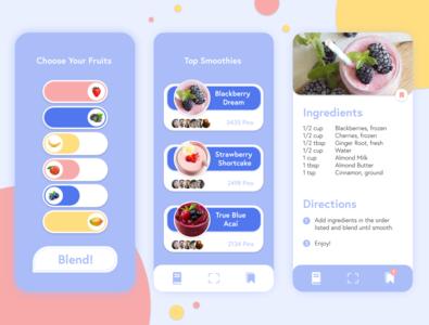 Blend - Smoothie App 🍑 recipes order fruits design app ui ux