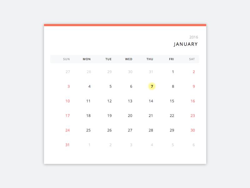 Calendar ux ui daily ui
