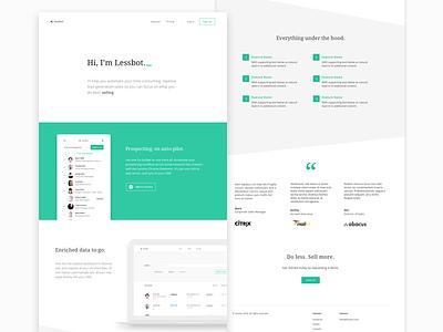 Lessbot Landing Page ux ui landing page
