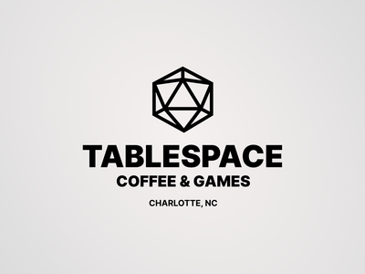 Tablespace: Coffee & Games geometric black and white identity clean brand identity gamestore game branding design coffeshop dnd d12 branding concept location store games simple logo idenity brand branding