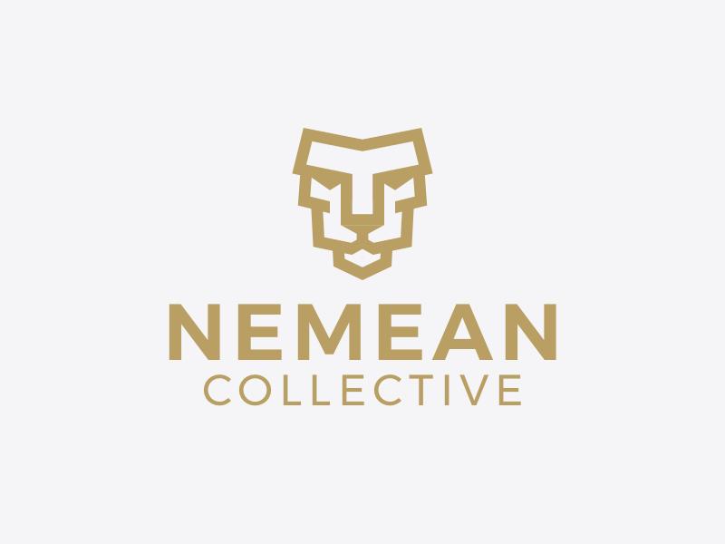 Nemean - Logo block angled geometric outline bold cat line logo animal lion collective nemean