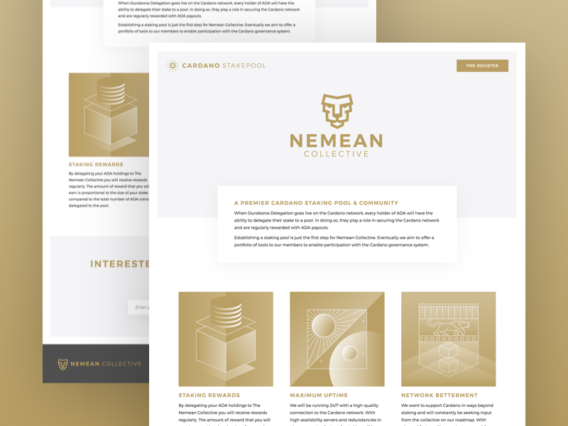 Nemean Pre-Registration Page clean e-mail registration lion bright gold cardano staking blockchain cryptocurrency ada crypto