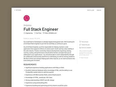 RMTWRK - Job Post layout flat hosted remote online webpage website ui list listing work posting minimal light design simple clean post job board