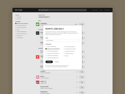 RMTWRK - Email Subscriptions website overlay form sign up signup mail subscription clean email subscribe modal design ui interface app application layout flat light simple