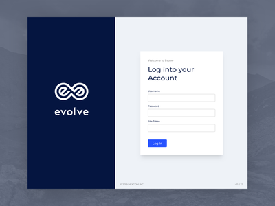 Evolve - Desktop Login Page welcome page welcome design brand landing landing page sign in screen sign in page sign in login screen login form form login page log in login clean blues blue simple redesign