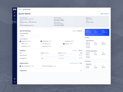 Evolve - Desktop Quote Detail blue customer service form detail order invoice checkout cart pricing quote builder purchase price transaction layout information overview review clean