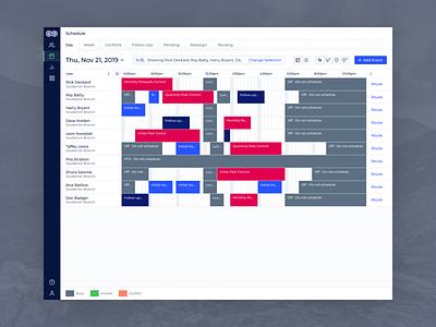 Evolve - Desktop Scheduler chart service review graphic blue layout builder ui datepicker date task tasks timeline planner events dates time scheduler schedule calendar