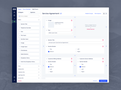 Evolve - Desktop Form Builder wysiwyg widgets widget visual transaction service sections section receipt quote overview layout invoice information forms form builder form editor builder blue