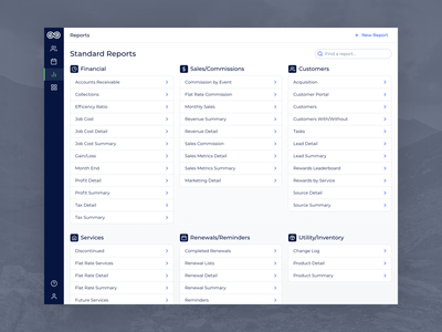 Evolve - Desktop Reports Index nav navigation report services layout simple clean blue information service contents map reporting overview table lookup directory list reports index