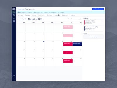 Evolve - Desktop Customer Services events event dates account overview review task summary customer profile customer profile upcoming tasks monthly schedule service services scheduling calendar ui calendar