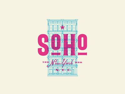 Soho logo type illustration icon vector typography design manhattan soho ny