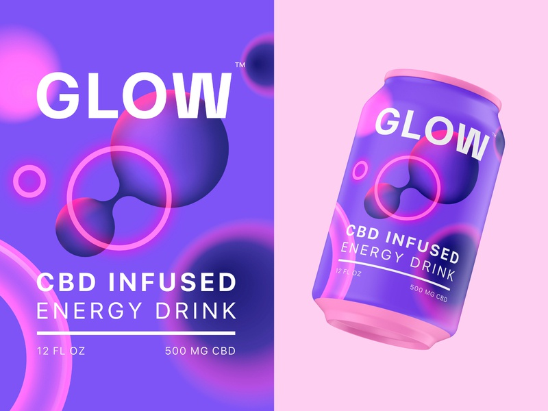 GLOW CBD gradient glow abstract visual identity identity design brand identity branding beverage energy drink cbd can packaging packaging design