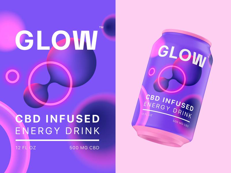GLOW CBD gradient glow abstract visual identity identity design brand identity branding beverage energy drink cbd can packaging packaging design